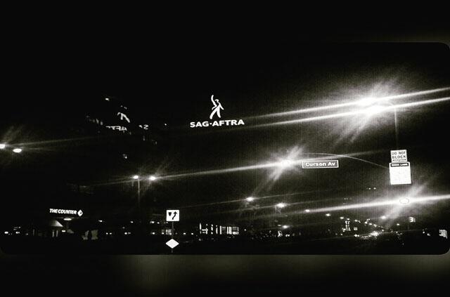 Sag-Aftra on Wilshire Blvd. Black and White Photo
